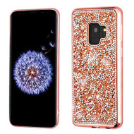 MyBat Candy Skin Cover (with Electroplated Rose Gold Frame) for Samsung Galaxy S9 - Rose Gold Mini Crystals Rhinestones Desire