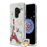 MyBat Full Glitter TUFF Hybrid Protector Cover for Samsung Galaxy S9 Plus - Paris Monarch Butterflies Diamante