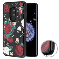 MyBat Krystal Gel Series Candy Skin Cover for Samsung Galaxy S9 Plus - Red and White Roses (Black)