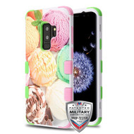 MyBat TUFF Hybrid Protector Cover [Military-Grade Certified] for Samsung Galaxy S9 Plus - Ice Cream Scoops / Electric Green & Soft Pink