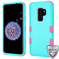 MyBat TUFF Hybrid Protector Cover [Military-Grade Certified] for Samsung Galaxy S9 Plus - Natural Teal Green / Electric Pink