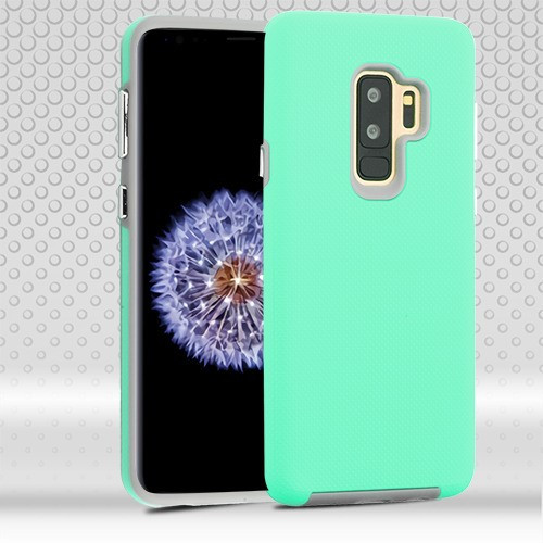 MyBat Fusion Protector Cover for Samsung Galaxy S9 Plus - Teal Green Dots Textured / Light Gray