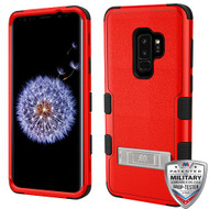 MyBat TUFF Hybrid Protector Cover (with Stand)[Military-Grade Certified] for Samsung Galaxy S9 Plus - Natural Red / Black