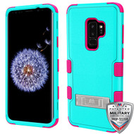 MyBat TUFF Hybrid Protector Cover (with Stand)[Military-Grade Certified] for Samsung Galaxy S9 Plus - Natural Teal Green / Electric Pink