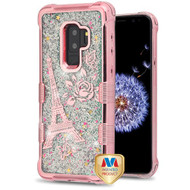MyBat TUFF Quicksand Glitter Lite Hybrid Protector Cover for Samsung Galaxy S9 Plus - Rose Gold Electroplating / Eiffel Tower / Silver Flowing Sparkles