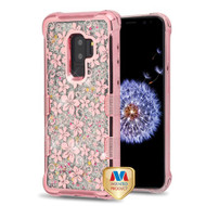 MyBat TUFF Quicksand Glitter Lite Hybrid Protector Cover for Samsung Galaxy S9 Plus - Rose Gold Electroplating / Hibiscus Flower / Silver Flowing Sparkles