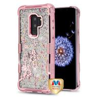 MyBat TUFF Quicksand Glitter Lite Hybrid Protector Cover for Samsung Galaxy S9 Plus - Rose Gold Electroplating / Spring Flowers / Silver Flowing Sparkles