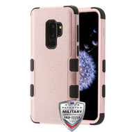 MyBat TUFF Hybrid Protector Cover [Military-Grade Certified] for Samsung Galaxy S9 Plus - Textured Rose Gold / Black