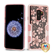 MyBat TUFF Panoview Hybrid Protector Cover for Samsung Galaxy S9 Plus - Metallic Rose Gold / Electroplating Rose Gold Hibiscus Flower (Transparent Clear)