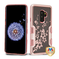 MyBat TUFF Panoview Hybrid Protector Cover for Samsung Galaxy S9 Plus - Metallic Rose Gold / Electroplating Rose Gold Spring Flowers (Transparent Clear)