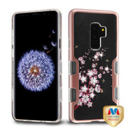 MyBat TUFF Panoview Hybrid Protector Cover for Samsung Galaxy S9 Plus - Metallic Rose Gold / Spring Flowers Diamante