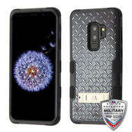 MyBat TUFF Hybrid Protector Cover (with Stand)[Military-Grade Certified] for Samsung Galaxy S9 Plus - Aluminum Treads / Black