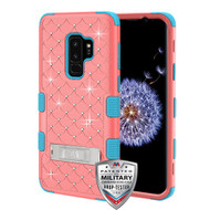 MyBat FullStar TUFF Hybrid Protector Cover (with Stand)[Military-Grade Certified] for Samsung Galaxy S9 Plus - Natural Baby Red / Tropical Teal