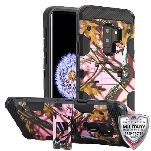 MyBat Storm Tank Hybrid Protector Cover [Military-Grade Certified] for Samsung Galaxy S9 Plus - Pink Oak-Hunting Camouflage Collection / Black
