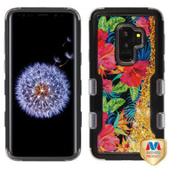MyBat TUFF Quicksand Glitter Hybrid Protector Cover for Samsung Galaxy S9 Plus - Natural Black / Electric Hibiscus & Gold Sparkles Liquid Flowing