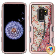 MyBat TUFF Quicksand Glitter Hybrid Protector Cover for Samsung Galaxy S9 Plus - Rose Gold / Paris in Full Bloom & Rose Gold Sparkles Liquid Flowing