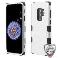 MyBat TUFF Hybrid Protector Cover [Military-Grade Certified] for Samsung Galaxy S9 Plus - Silver Brushed / Black