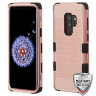 MyBat TUFF Hybrid Protector Cover [Military-Grade Certified] for Samsung Galaxy S9 Plus - Rose Gold Brushed / Black