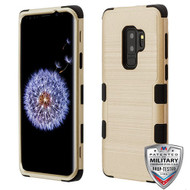 MyBat TUFF Hybrid Protector Cover [Military-Grade Certified] for Samsung Galaxy S9 Plus - Gold Brushed / Black