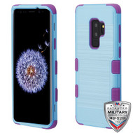 MyBat TUFF Hybrid Protector Cover [Military-Grade Certified] for Samsung Galaxy S9 Plus - Metallic Baby Blue Brushed / Electric Purple