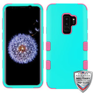 MyBat TUFF Hybrid Protector Cover [Military-Grade Certified] for Samsung Galaxy S9 Plus - Rubberized Teal Green / Electric Pink
