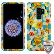 MyBat TUFF Hybrid Protector Cover [Military-Grade Certified] for Samsung Galaxy S9 Plus - Spring Daffodils / Tropical Teal