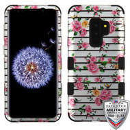 MyBat TUFF Hybrid Protector Cover [Military-Grade Certified] for Samsung Galaxy S9 Plus - Pink Fresh Roses (2D Silver) / Black