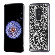 MyBat Candy Skin Cover (with Electroplated Black Frame)(with Package) for Samsung Galaxy S9 Plus - Black Mini Crystals Rhinestones Desire