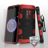 MyBat 3-in-1 Storm Tank Hybrid Protector Cover Combo (with Black Holster)(Twin Screen Protectors)[Military-Grade Certified] for Samsung Galaxy S9 Plus - Black / Red