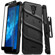 ZIZO BOLT Series for Cricket Icon 2 Case with Screen Protector Kickstand Holster Lanyard - Black & Black BOLT-CKIC2-BKBK