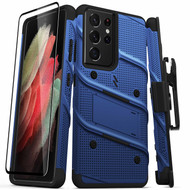 ZIZO BOLT Series for Galaxy S21 Ultra 5G Case with Screen Protector Kickstand Holster Lanyard - Blue & Black BOLT-SAMGS2169-BLBK