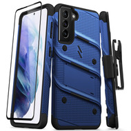 ZIZO BOLT Series for Galaxy S21 5G Case with Screen Protector Kickstand Holster Lanyard - Blue & Black BOLT-SAMGS2163-BLBK