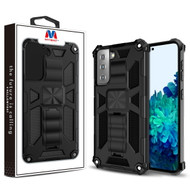 MyBat Sturdy Hybrid Protector Cover (with Stand) for Samsung Galaxy S21 Plus - Black / Black