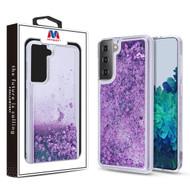 MyBat Quicksand Glitter Hybrid Protector Cover for Samsung Galaxy S21 Plus - Hearts & Purple