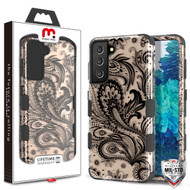 MyBat Pro TUFF Hybrid Protector Cover [Military-Grade Certified] for Samsung Galaxy S21 Plus - Phoenix Flower (2D Rose Gold) / Black
