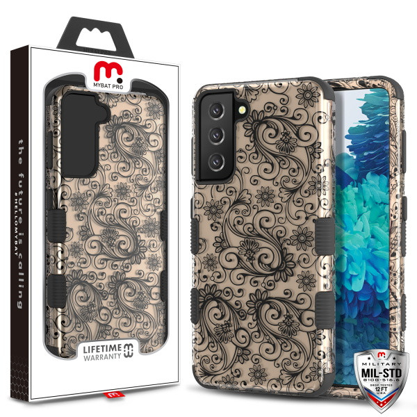 MyBat Pro TUFF Hybrid Protector Cover [Military-Grade Certified] for Samsung Galaxy S21 Plus - Leaf Clover (2D Rose Gold) / Black