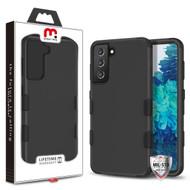 MyBat Pro TUFF Hybrid Protector Cover [Military-Grade Certified] for Samsung Galaxy S21 Plus - Rubberized Black / Black