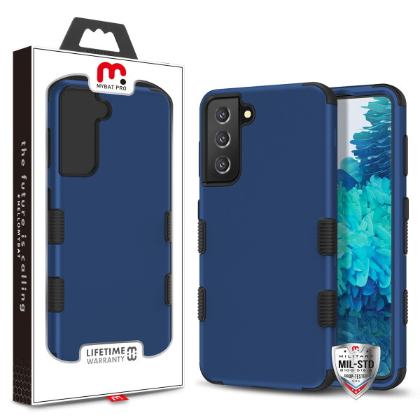 MyBat Pro TUFF Hybrid Protector Cover [Military-Grade Certified] for Samsung Galaxy S21 Plus - Rubberized Ink Blue / Black