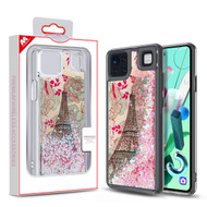 MyBat Quicksand Glitter Hybrid Protector Cover for Cricket Grand Lg K92 5G - Eiffel Tower & Pink Hearts
