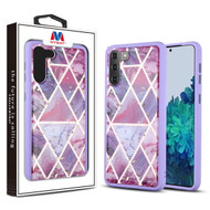 MyBat Hybrid Case for Samsung Galaxy S21 Plus - Purple Marbling / Purple