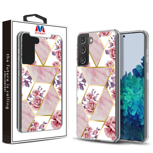 MyBat Fusion Protector Cover for Samsung Galaxy S21 Plus - Electroplated Roses Marbling