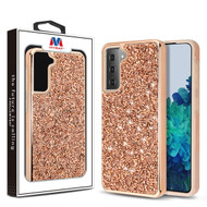 MyBat Encrusted Rhinestones Hybrid Case for Samsung Galaxy S21 Plus - Electroplated Rose Gold / Rose Gold