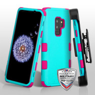 Natural Teal Green/Electric Pink TUFF Hybrid Phone Protector Cover [Military-Grade Certified](with Black Horizontal Holster)