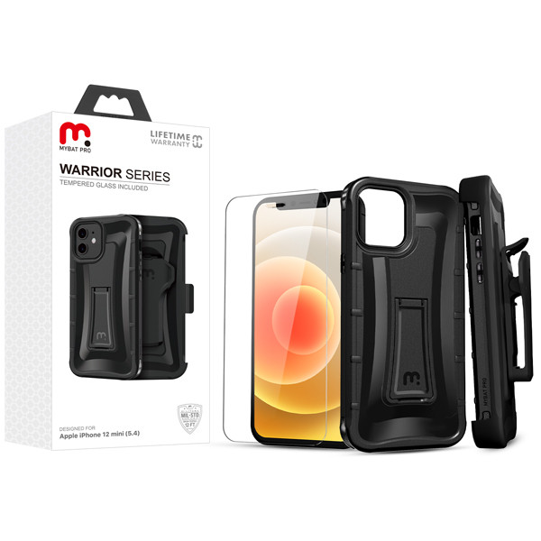 MyBat Pro Warrior Series Hybrid Case Combo (with Black Holster)(Tempered Glass Screen Protector) for Apple iPhone 12 mini (5.4) - Natural Black / Black
