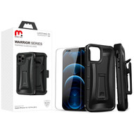 MyBat Pro Warrior Series Hybrid Case Combo (with Black Holster)(Tempered Glass Screen Protector) for Apple iPhone 12 Pro (6.1) / iPhone 12 (6.1) - Natural Black / Black