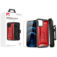 MyBat Pro MyBat Pro Warrior Series Hybrid Case Combo (with Black Holster)(Tempered Glass Screen Protector) for Apple iPhone 12 Pro (6.1) / iPhone 12 (6.1) - Transparent Red / Black