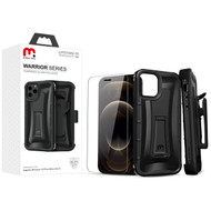MyBat Pro Warrior Series Hybrid Case Combo (with Black Holster)(Tempered Glass Screen Protector) for Apple iPhone 12 Pro Max (6.7) - Natural Black / Black