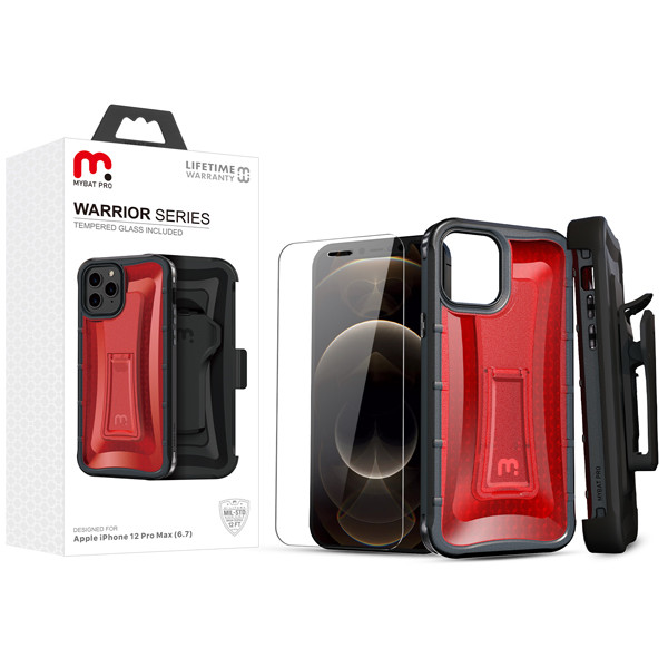 MyBat Pro MyBat Pro Warrior Series Hybrid Case Combo (with Black Holster)(Tempered Glass Screen Protector) for Apple iPhone 12 Pro Max (6.7) - Transparent Red / Black