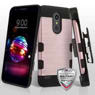 Rose Gold/Black Brushed TUFF Trooper Hybrid Protector Cover [Military-Grade Certified](with Black Horizontal Holster)