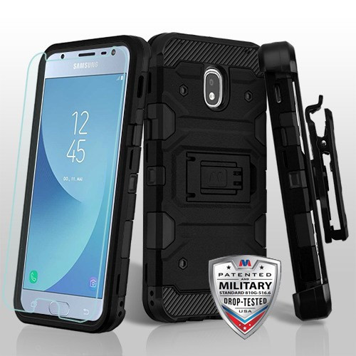 MyBat 3-in-1 Storm Tank Hybrid Protector Cover Combo (with Black Holster)(Tempered Glass Screen Protector)[Military-Grade Certified] for Samsung J337 (Galaxy J3 (2018))/Galaxy J3 V/J3 3rd Gen / Galaxy J3 Star - Black / Black